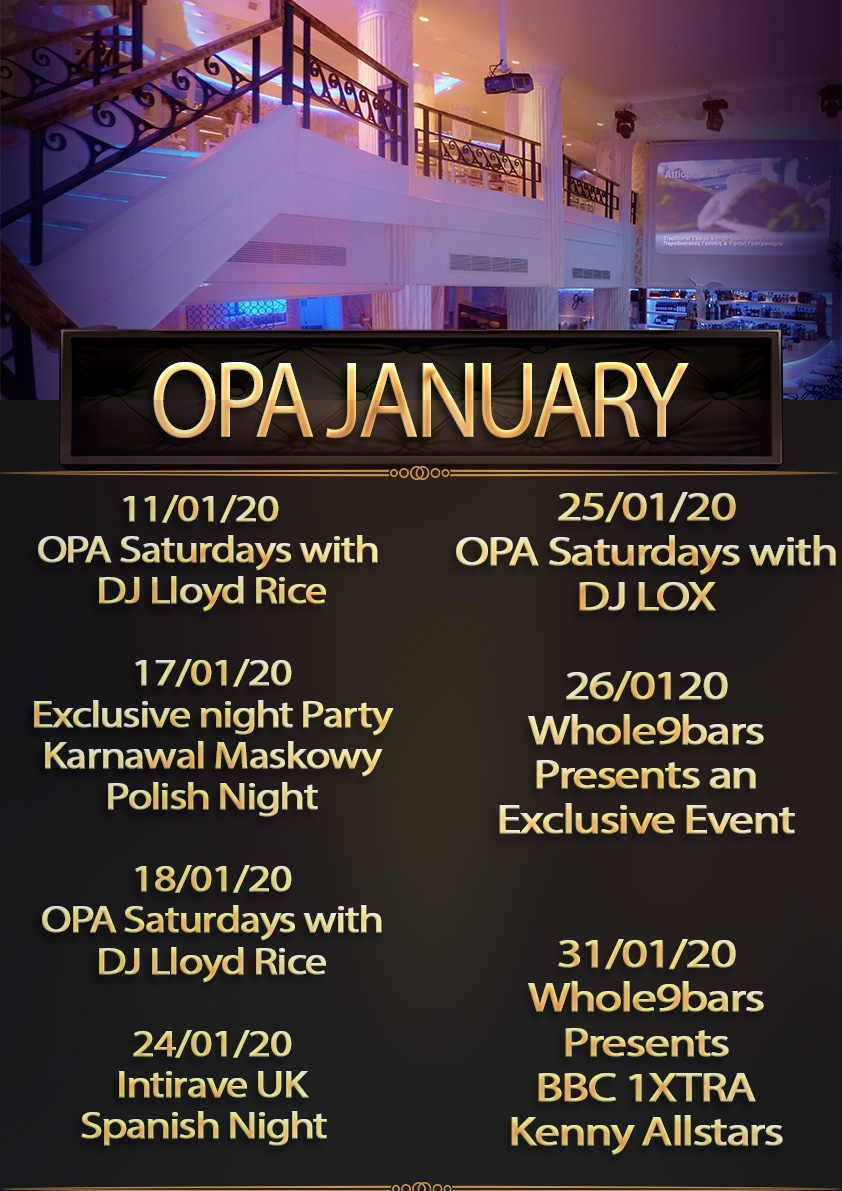 January events 2020 at opa bristol